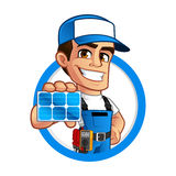 Technician installer of solar panels Royalty Free Stock Photos