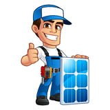 Technician installer of solar panels Royalty Free Stock Images