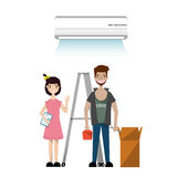 Technician Installing electronics. Air conditioner unit repair and installing Royalty Free Stock Photo