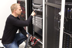 It technician maintain servers an SAN in datacenter Royalty Free Stock Photography