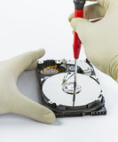 Technician with open hard-disk Stock Photos