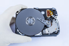 Technician with open hard-disk Stock Photo