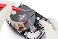 Technician with open hard-disk Royalty Free Stock Images