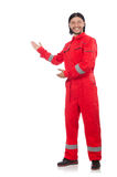 Technician in orange overall isolated on white Stock Image