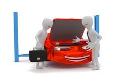 Technician passes car to customer. Cartoon technician passes repaired car to customer in front of a car - 3D model Royalty Free Stock Image