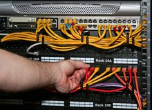 Technician plugs in a network cable. A technician plugs a network cable into a patch panel stock photography