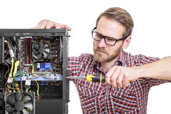 Technician repair assembles computer Royalty Free Stock Image