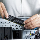 Technician repairing computer hardware Royalty Free Stock Photography