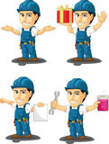 Technician or Repairman Customizable Mascot 11. A vector set of a male repairman in several poses. Drawn in cartoon style, this vector is very good for design Royalty Free Stock Image