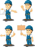 Technician or Repairman Customizable Mascot 12. A vector set of a male repairman in several poses. Drawn in cartoon style, this vector is very good for design Stock Photos