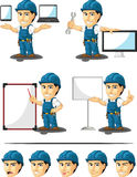 Technician or Repairman Customizable Mascot 16. A vector set of a male repairman in several poses. Drawn in cartoon style, this vector is very good for design Stock Image