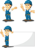Technician or Repairman Customizable Mascot 7. A vector set of a male repairman in several poses. Drawn in cartoon style, this vector is very good for design Stock Image