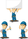 Technician or Repairman Customizable Mascot 8. A vector set of a male repairman in several poses. Drawn in cartoon style, this vector is very good for design Royalty Free Stock Image