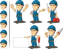 Technician or Repairman Mascot 2. A vector set of a male repairman in several poses. Drawn in cartoon style, this vector is very good for design that need Royalty Free Stock Images