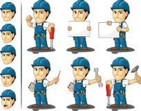 Technician or Repairman Mascot. A vector set of a male repairman in several poses. Drawn in cartoon style, this vector is very good for design that need Stock Images