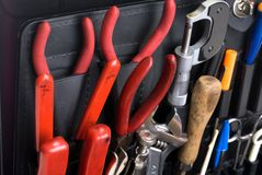 Technician's tools. A closeup of technician's tools in an attache toolbox royalty free stock photos
