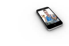 It technician on smartphone screen. On white background Stock Photo