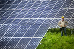 Technician at solar power station Royalty Free Stock Photography
