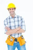 Technician standing arms crossed over white background Royalty Free Stock Photography