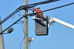 Setting Up Telecommunications System Royalty Free Stock Image