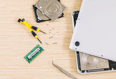 Technician support upgrade part . Royalty Free Stock Photo