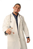 Technician with syringe. Professional medical worker hold syringe in his hand royalty free stock image