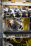 Technician talking on mobile phone while checking cables. In a rack mounted server Royalty Free Stock Photo