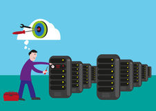 IT Technician targets to fix and solve the problem in the server room. Editable Clip Art. Royalty Free Stock Images