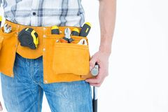 Technician with tool belt around waist Royalty Free Stock Photos