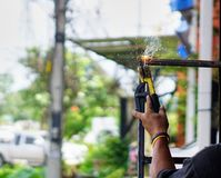 Technician is using heat welding steel Stock Photography