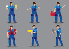 Technician Vector Character Icon Set. Blue collar worker vector cartoon character icons, can be technical, electrician or mechanic, with various work tools and Stock Images