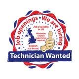 Technician Wanted. Job openings. Royalty Free Stock Photos