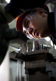 Technician at work. Asian technician working in factory low angel Stock Photos