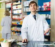 Technician working in chemist shop Royalty Free Stock Photography