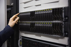 Technician working on server tower Royalty Free Stock Images