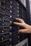 Technician working on server tower Stock Image