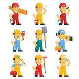 Technician , Working a Set of People. With different construction objects vector illustration Royalty Free Stock Photos