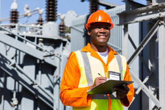 Technician working substation Royalty Free Stock Photography