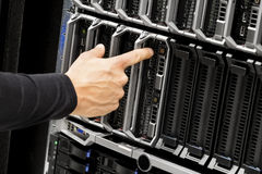 Technicians Hand Touching Blade Server At Data Center Stock Photography