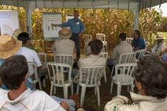 Technicians in a research center. Santa Helena, Goias, Brazil, March 05, 2009. Engineer agronomist teaches a technical training on seeds for improvement of stock photo