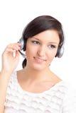 Technicien de centre d'assistance avec l'écouteur Photographie stock