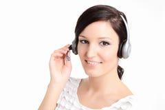 Technicien de centre d'attention téléphonique avec l'écouteur Image stock