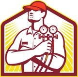Technicien de chauffage et de refroidissement Retro de réfrigération Photographie stock libre de droits