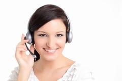 Technicien de support de jeunes avec l'écouteur Images libres de droits