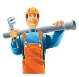 Technicien sanitaire avec le tube Illustration Stock