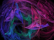 Technicolor. An abstract background of colored transparent swirls on black Royalty Free Stock Image