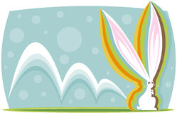 Technicolor Bunny. Colorful long-eared bunny hopping along - great for easter designs Stock Illustration