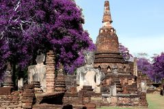 Technicolor old temple ancient wat in kamphaeng phet Stock Photo
