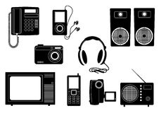 Technics. Black sihouettes of technics for life Royalty Free Stock Images