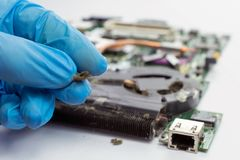 Technicus Cleaning een laptop ventilator stock fotografie